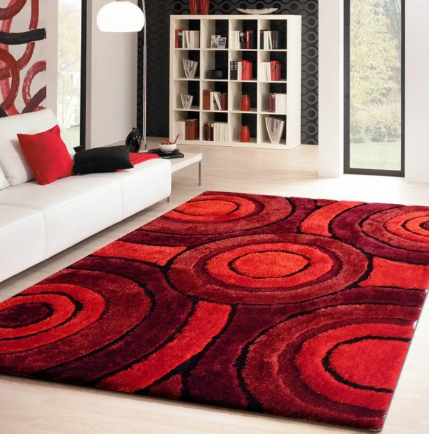 Living Shag Hand-Tufted Red Area Rug