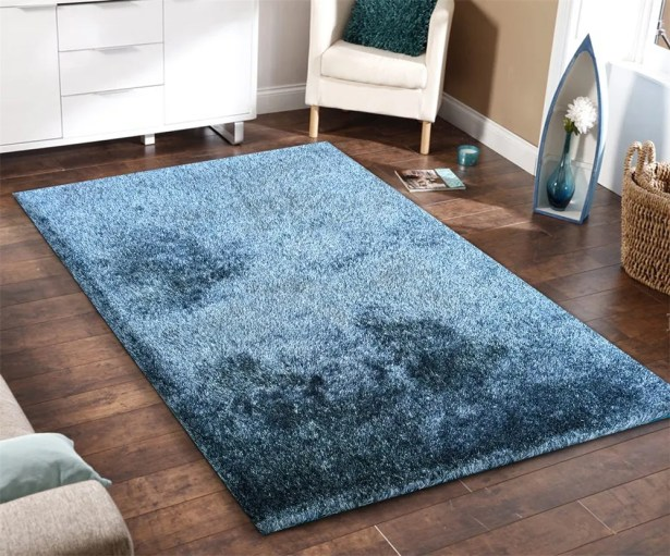 Heineman Solid Touch of Shag Hand-Tufted Blue Area Rug Rug Size: Rectangle 5' x 7'