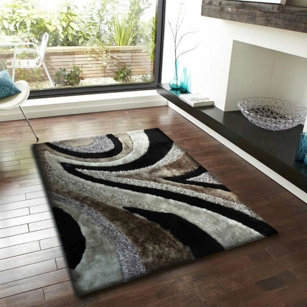 Shaughnessy Shag Hand Tufted Gray/Black Area Rug Rug Size: Rectangle 4' x 5'4