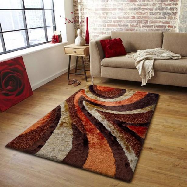Luella Handmade Shag Brown/Orange Area Rug