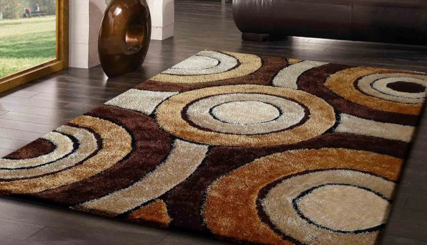 Living Shag Hand-Tufted Brown Area Rug
