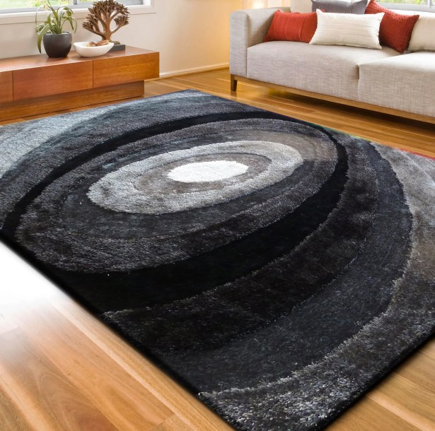 Living Shag Black/Gray Rug Rug Size: 7'6