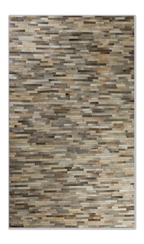 Sathvik Hand-Woven Leather Gray Cowhide Area Rug Rug Size: 5' x 8'