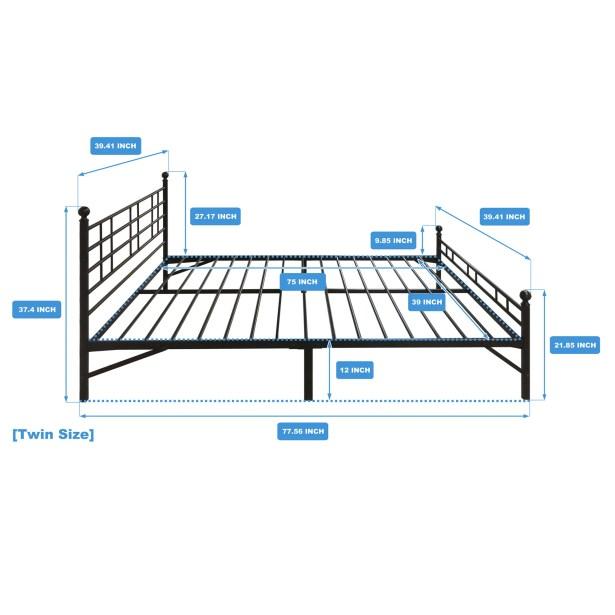 Model H Platform Bed Frame Size: Twin
