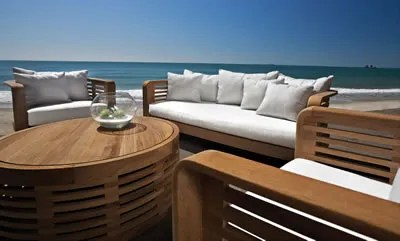 Hamilton 4 Piece Teak Sunbrella Sofa Set with Cushions