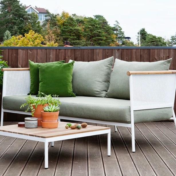 Riad Teak Patio Sofa with Cushion Frame Color: White, Fabric Color: Natural