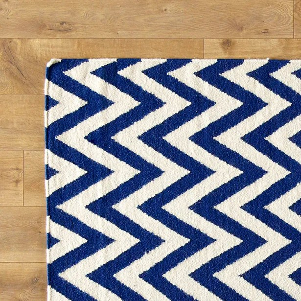 Moves Like Zigzagger Blue Rug Rug Size: Rectangle 10' x 14'