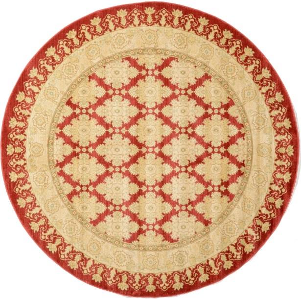 Fonciere Red/Beige Area Rug Rug Size: Round 8'