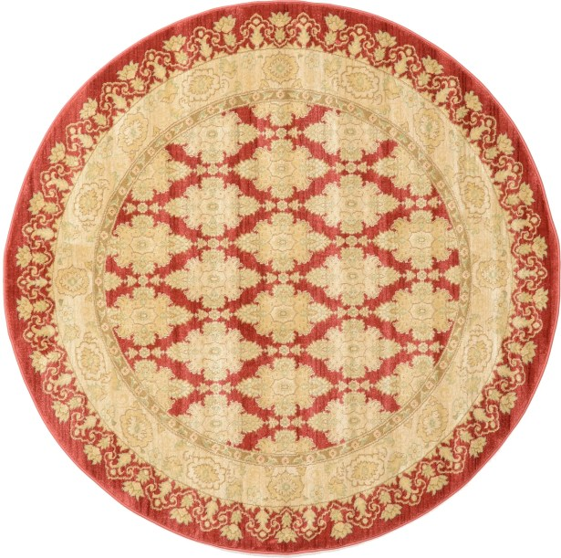 Fonciere Red/Beige Area Rug Rug Size: Round 6'