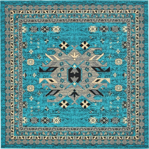 Sina Turquoise Area Rug Rug Size: Square 8'