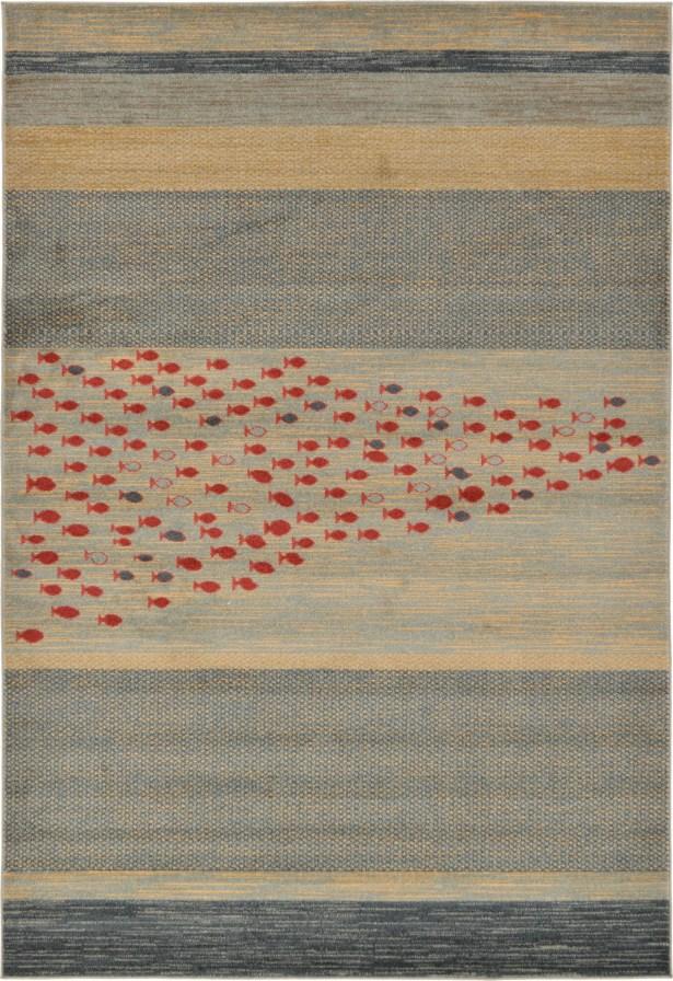 Jan Blue/Red/Beige Area Rug Rug Size: Rectangle 6' x 9'