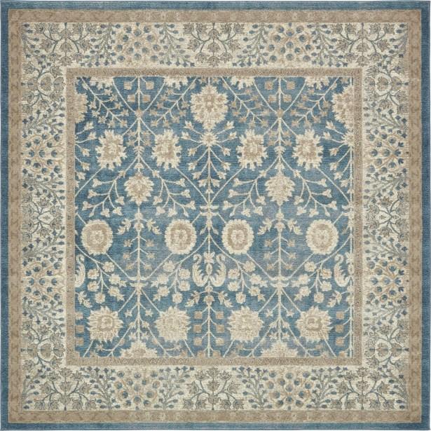 KerensaLight Blue Area Rug Rug Size: Square 8'