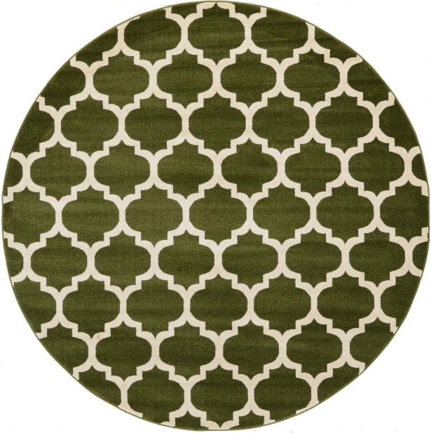 Moore Green/Beige Area Rug Rug Size: Round 8'