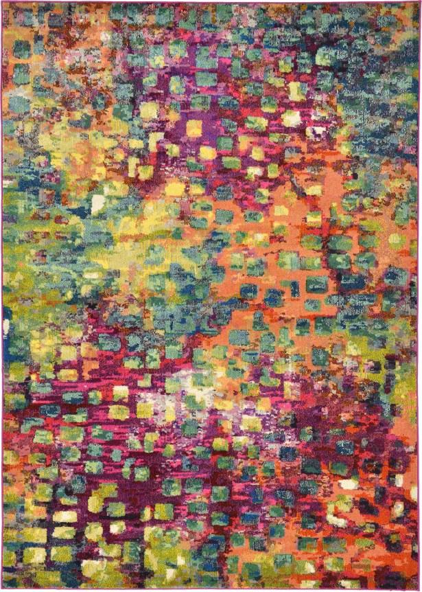 Massaoud Pink/Green Area Rug Rug Size: Rectangle 7'1