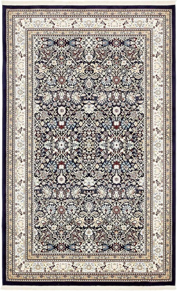 Quince Navy Blue/Tan Area Rug Rug Size: Rectangle 5' x 8'