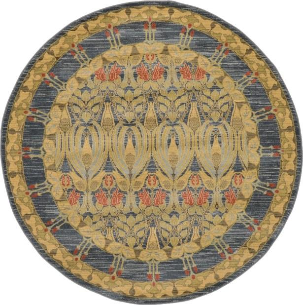 Fonciere Navy Blue Area Rug Rug Size: Round 6'