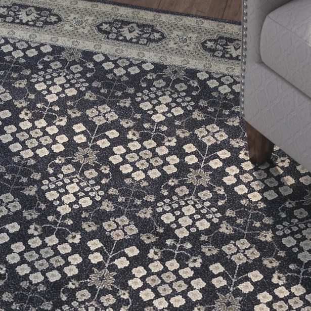 Cynthiana Navy/Gray Area Rug Rug Size: Rectangle 7'10
