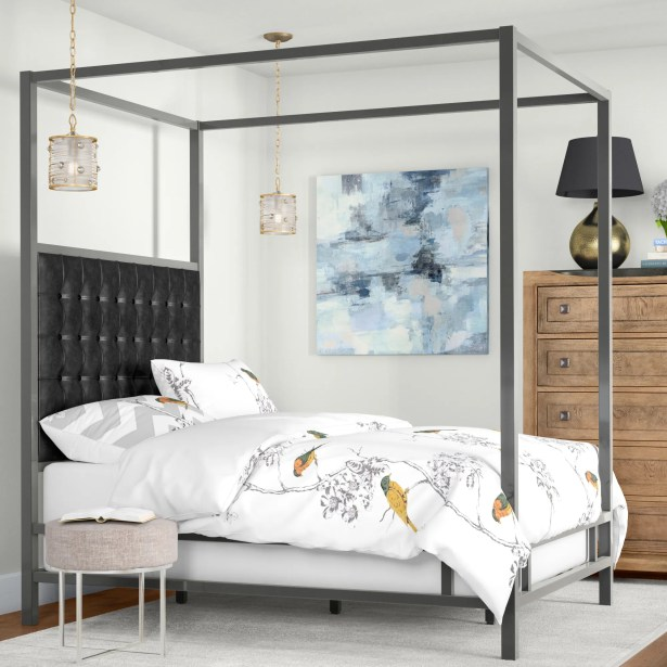 Holton Upholstered Canopy Bed Color: Black Bonded Leather, Size: Full