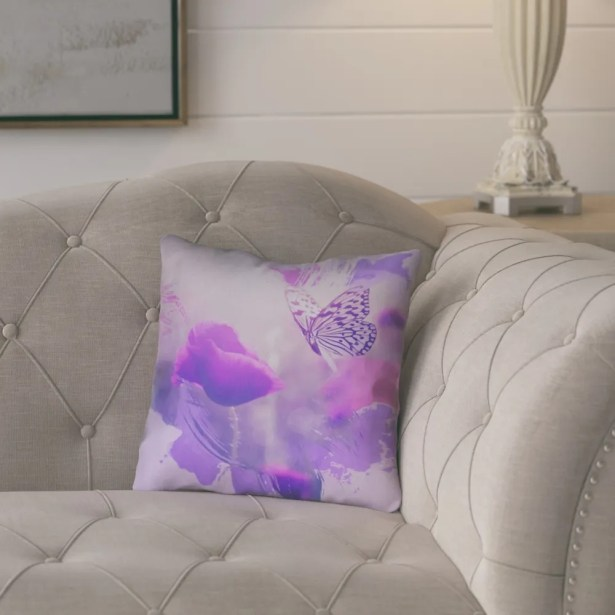 Elwyn Contemporary Watercolor Butterfly and Rose Square Down Alternative Throw Pillow Size: 20