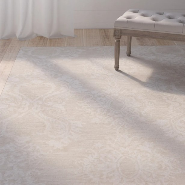 Oyer Hand-Tufted Wool Beige Area Rug Rug Size: 3'6