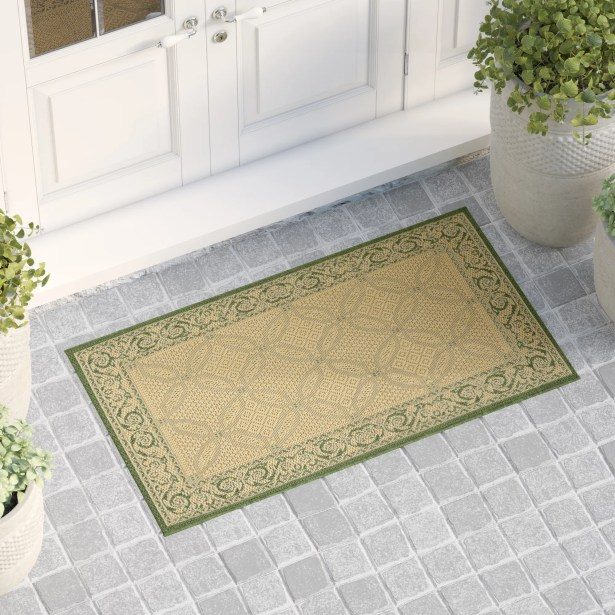 Beasley Indoor/Outdoor Natural/Olive Area Rug Rug Size: Rectangle 8' x 11'