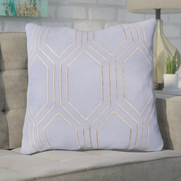 Lambda Down Fill Linen Throw Pillow Color: Sky Blue, Size: 22