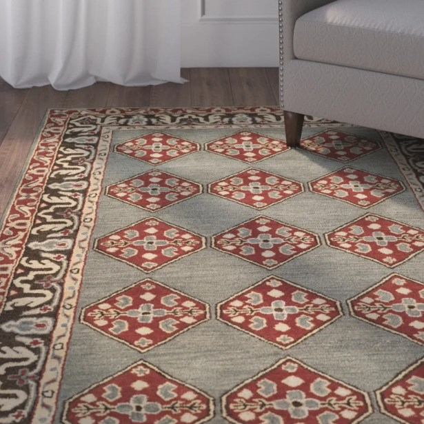 Cranmore Hand-Tufted Gray/Red Area Rug Rug Size: Square 6'