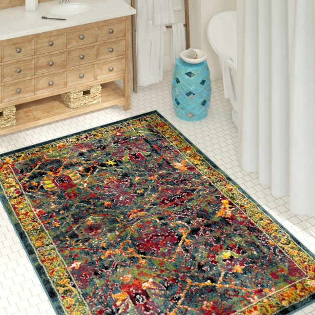 Antoine Blue/Red Area Rug Rug Size: Rectangle 6' x 9'