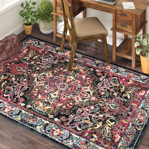 Antoine Black/Red Area Rug Rug Size: Rectangle 4' x 6'