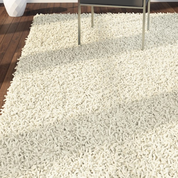 Shag Hand-Tufted Cream Area Rug Rug Size: 8' x 10'