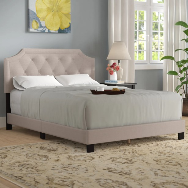 Tunley Upholstered Panel Bed Size: Full, Color: Beige