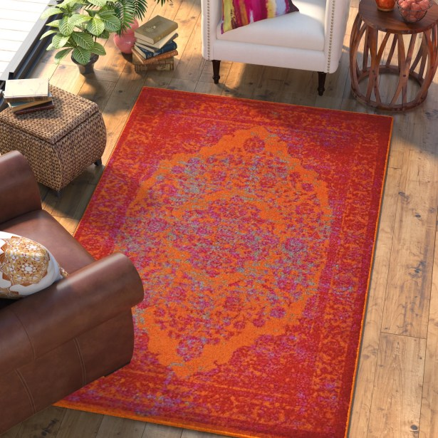 Boxdale Orange/Red Area Rug Rug Size: Rectangle 4'4