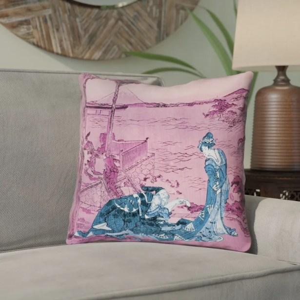 Enya Japanese Courtesan Throw Pillow Size: 20