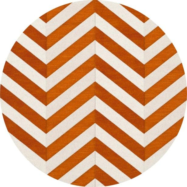 Shepler Wool Tangerine Area Rug Rug Size: Round 4'