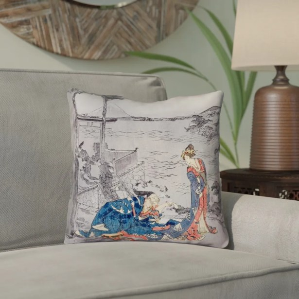 Enya Japanese Courtesan Double Sided Print Outdoor Throw Pillow Size: 20