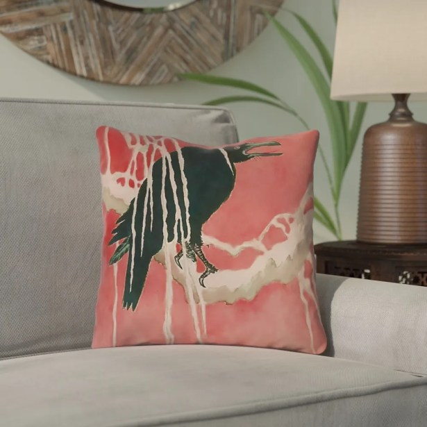 Montreal Crow and Willow Outdoor Throw Pillow Size: 16