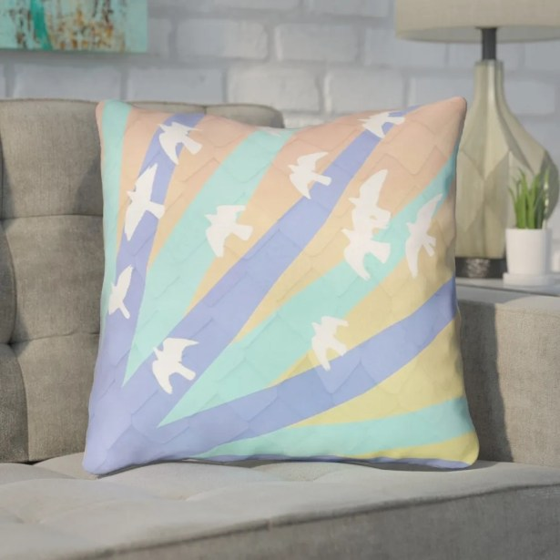 Enciso Birds and Sun Square Indoor Throw Pillow Size: 26
