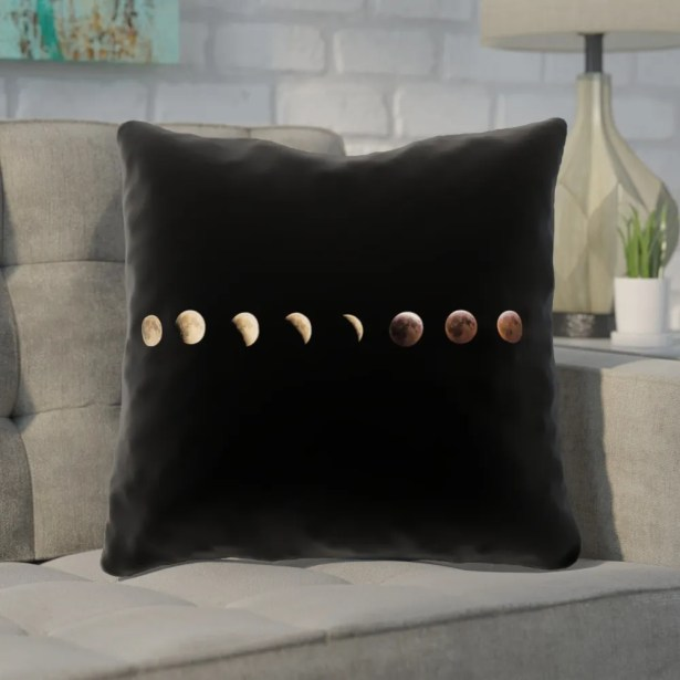 Shepparton Moon Phases Throw Pillow with Zipper Size: 20