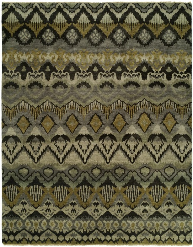 Giulia Hand Knotted Wool Gray/Khaki Area Rug Rug Size: Rectangle 3' x 5'
