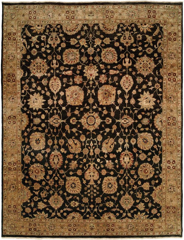 Eshan Hand Knotted Wool Black/Beige Area Rug Rug Size: Rectangle 6' x 9'