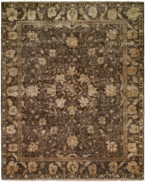Heppner Hand Knotted Wool Gray Area Rug Rug Size: Rectangle 6' x 9'