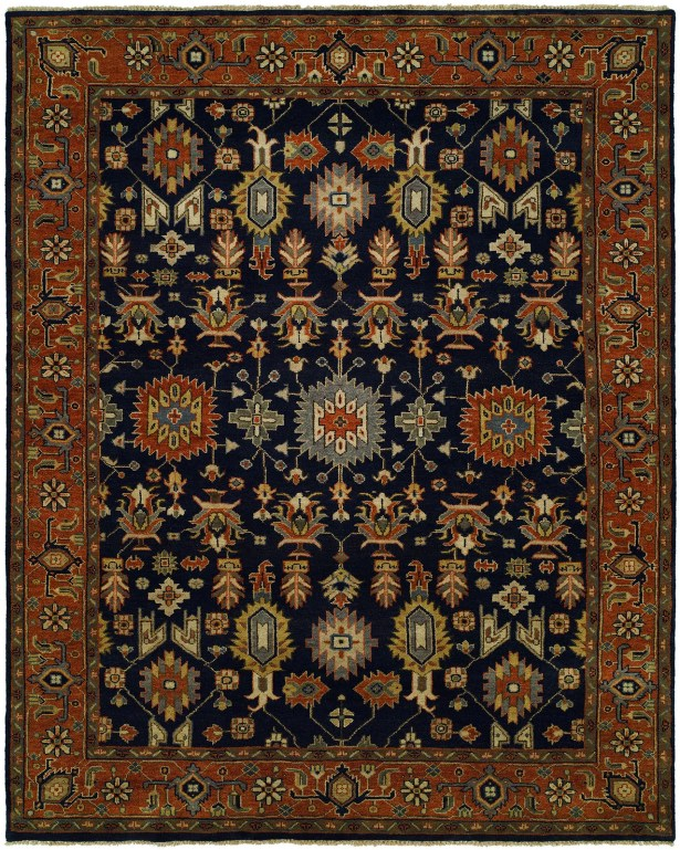 Dhairya Hand Knotted Wool Navy/Rust Area Rug Rug Size: Rectangle 4' x 6'