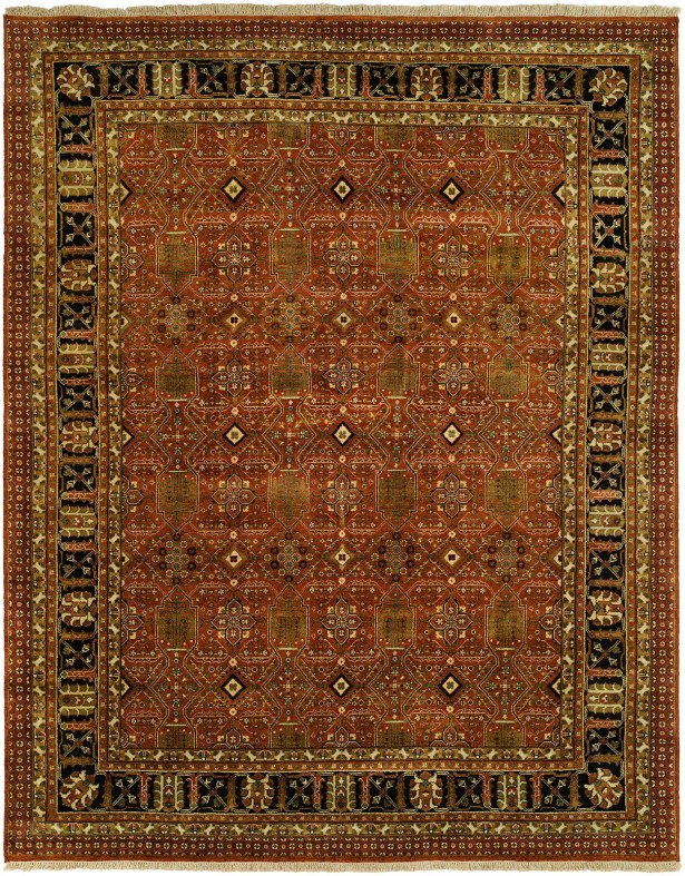 Mazon Hand Knotted Wool Rust/Black Area Rug Rug Size: Round 8'