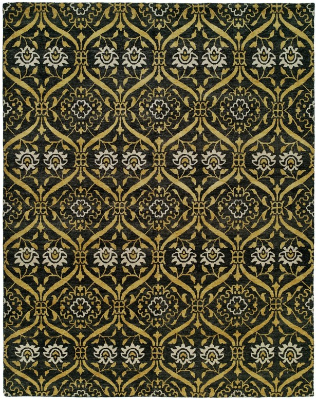 Hessie Hand Knotted Wool Black/Gold Area Rug Rug Size: Rectangle 9' x 12'