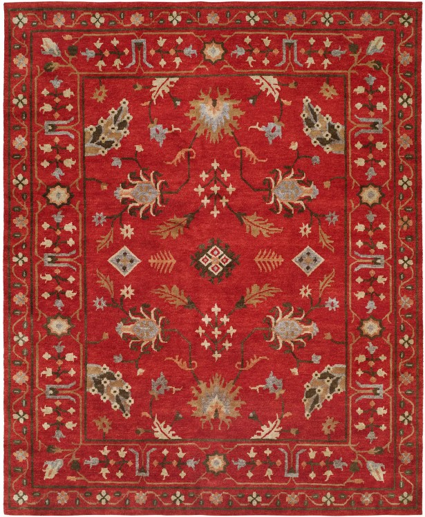 Priyansh Hand Knotted Wool Red Area Rug Rug Size: Rectangle 8' x 10'