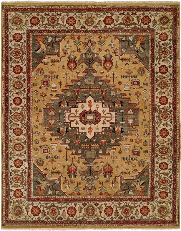 Mccray Hand Knotted Wool Gold/Rust Area Rug Rug Size: Rectangle 9' x 12'
