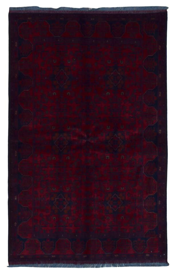 One-of-a-Kind Angoy Afghan Hand-Knotted Wool Red/Black Area Rug