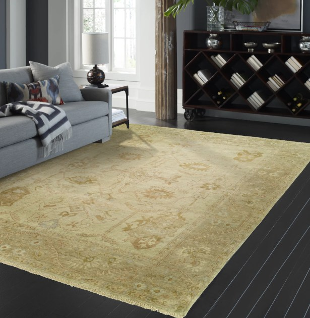 Janet Hand Knotted Wool Beige Area Rug Rug Size: Rectangle 6' x 9'