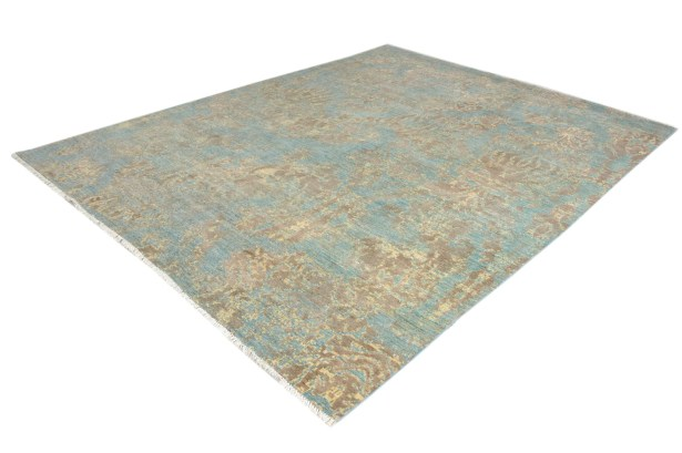 One-of-a-Kind Dorn Hand-Knotted Wool Blue/Brown Area Rug