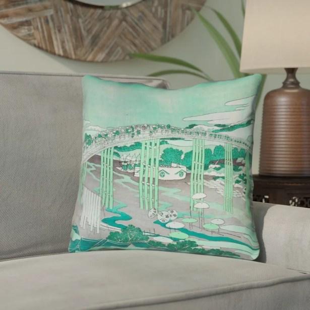 Enya Japanese Bridge Linen Throw Pillow Size: 20
